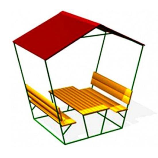 Стол со скамьями и навесом СКП 067